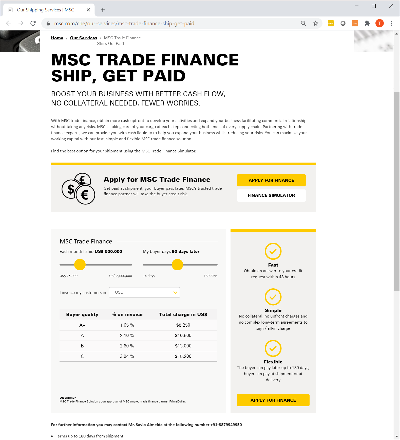 MSC launches MSC Trade Finance