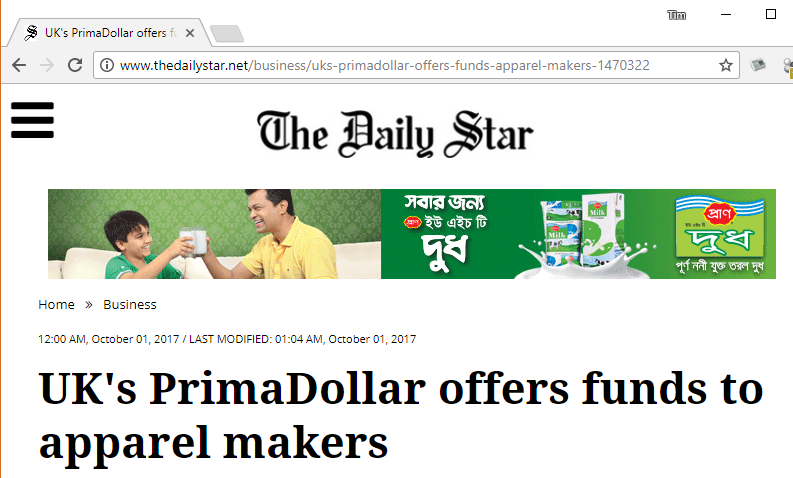 Daily Star: PrimaDollar in Bangladesh
